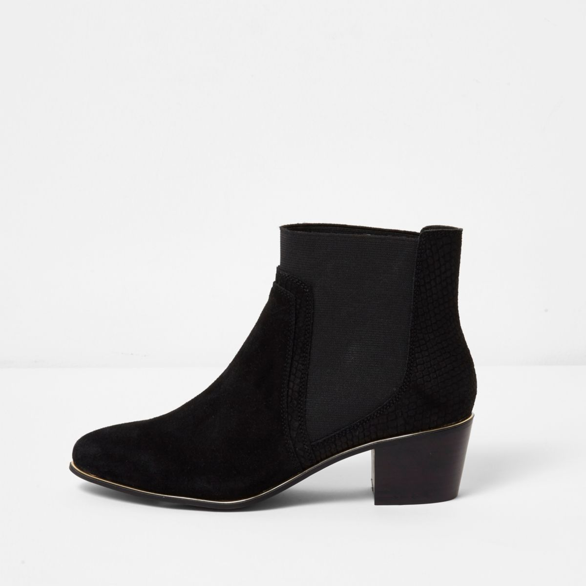 Black gold tone trim pointed boots