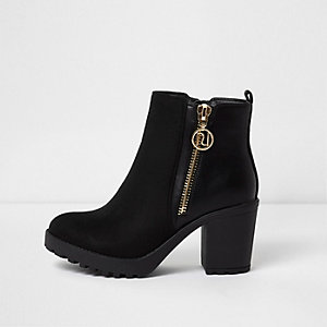 Black side zip chunky ankle boots