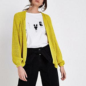 Cardigan en maille ruban épaisse jaune