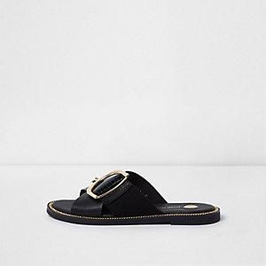Black wide fit buckle strap mule sandals
