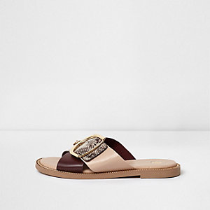 Pink wide fit snake buckle strap mule sandals