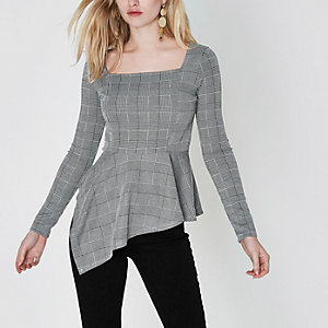 Grey check asymmetric peplum hem top