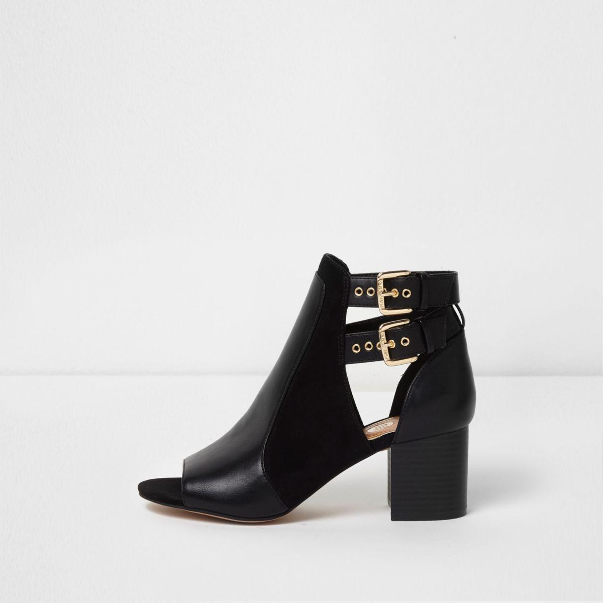 Black wide fit buckle peep toe shoe boots
