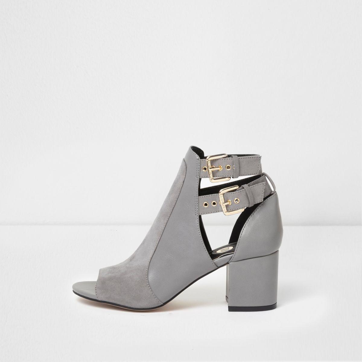 Grey wide fit buckle peep toe shoe boots