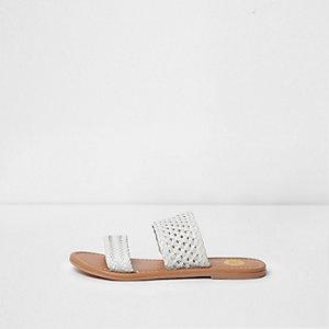 White woven strap sandals