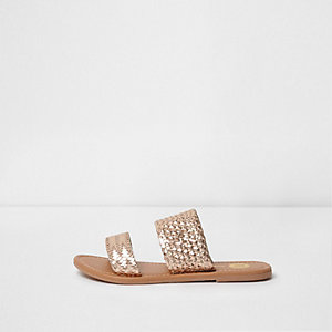 Gold metallic woven sandals