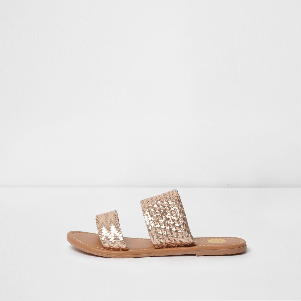 Gold metallic woven sandals