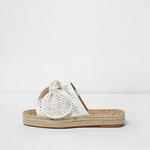 White wide fit laser cut knot espadrille mule