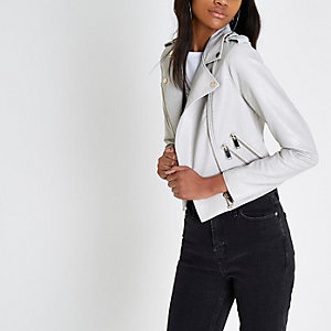 Cream faux leather biker jacket