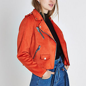 Bright orange faux suede biker jacket