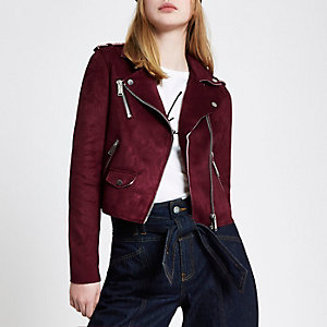 Oxblood red faux suede biker jacket