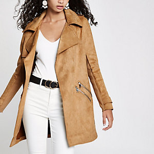 Camel faux suede trench coat