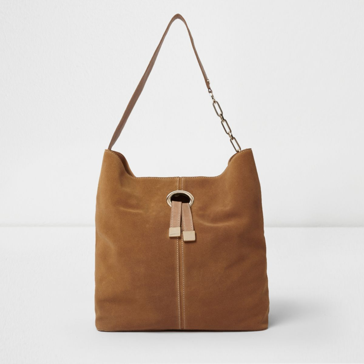 Tan suede ring front underarm slouch bag