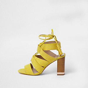 Yellow tie up block heel sandals