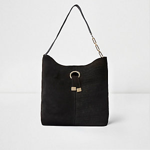 Black suede ring front underarm slouch bag
