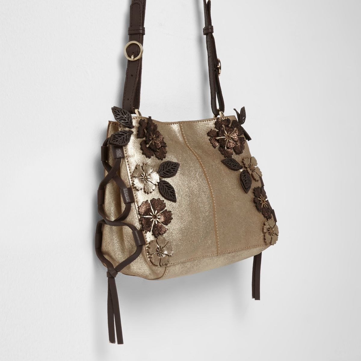 Gold metallic leather flower cross body bag