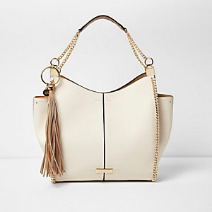 Cream chain trim slouch tote bag
