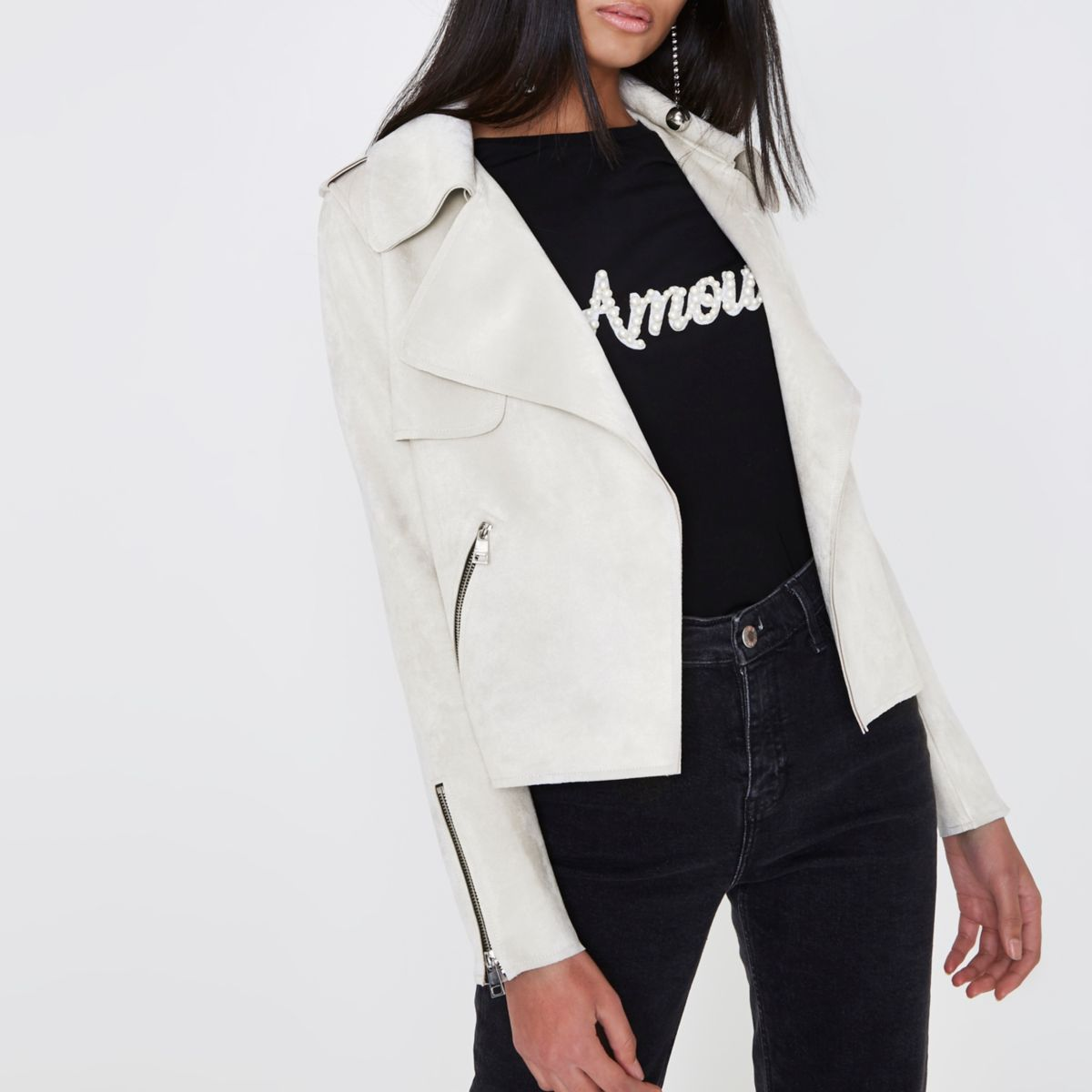 Cream faux suede cropped trench jacket