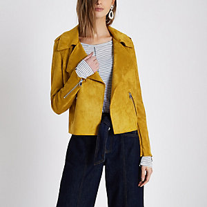 Mustard yellow faux suede trench jacket
