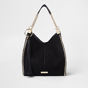 Black chain trim slouch tote bag