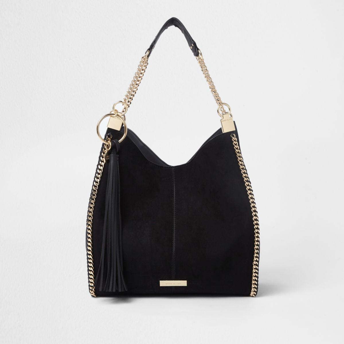 Ruime zwarte handtas met kettingrand