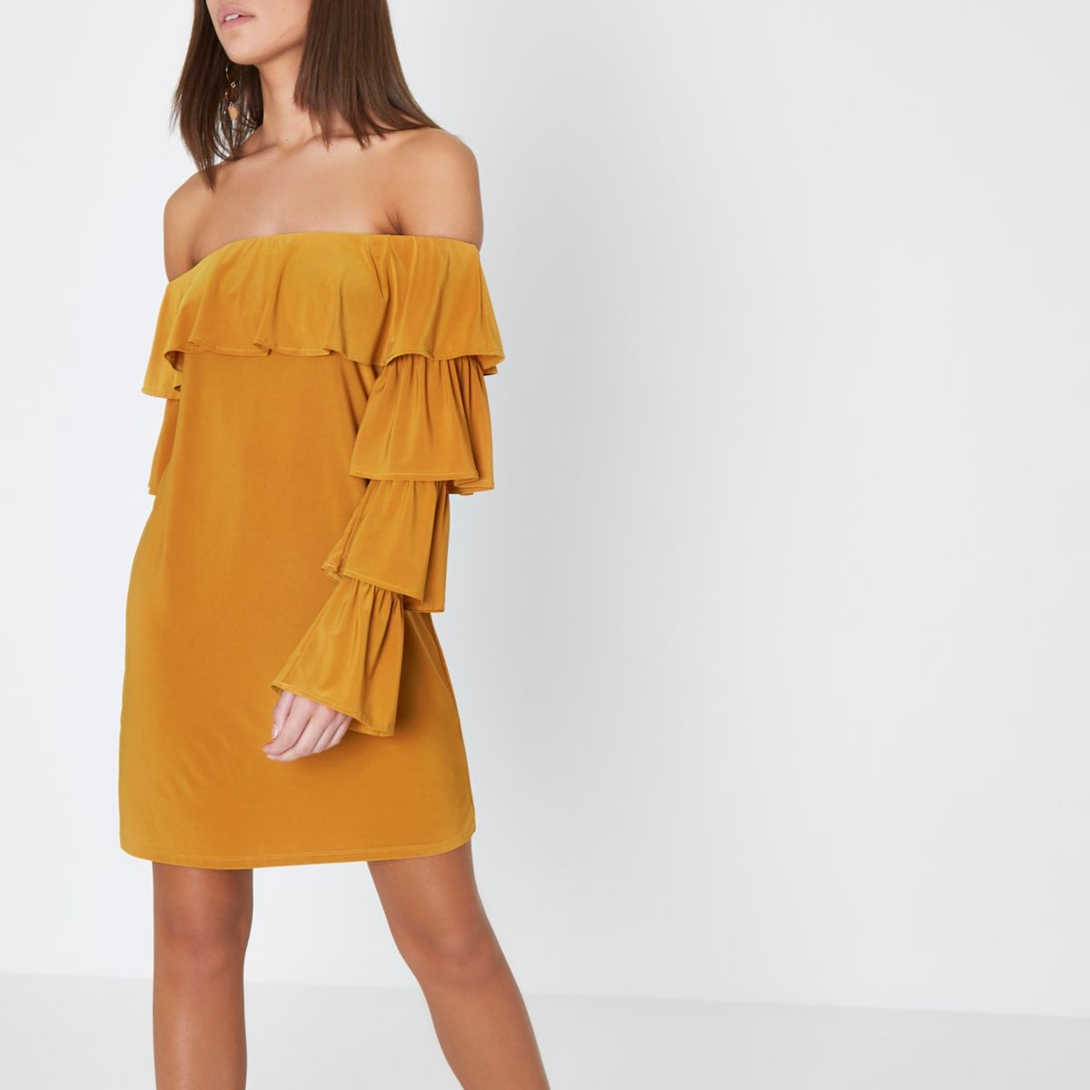 Mustard yellow bardot tiered sleeve dress