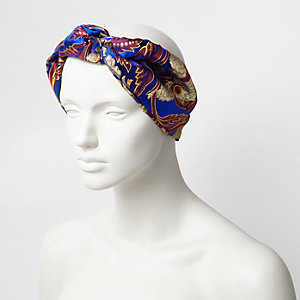 Blue satin floral knot front headband