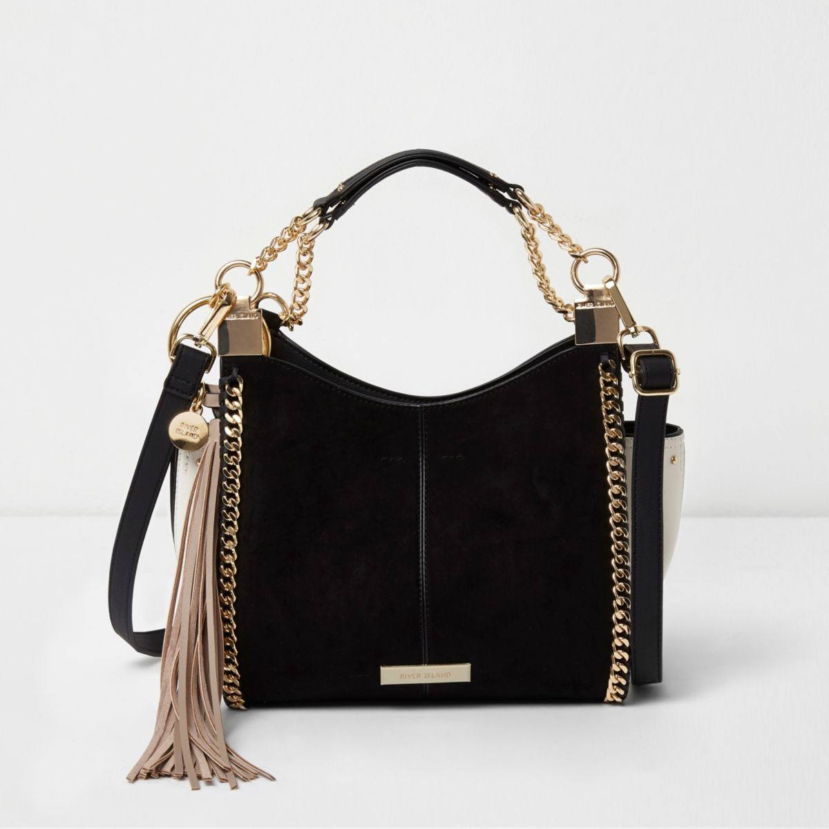 Mini sac bandoulière noir avec chaînes
