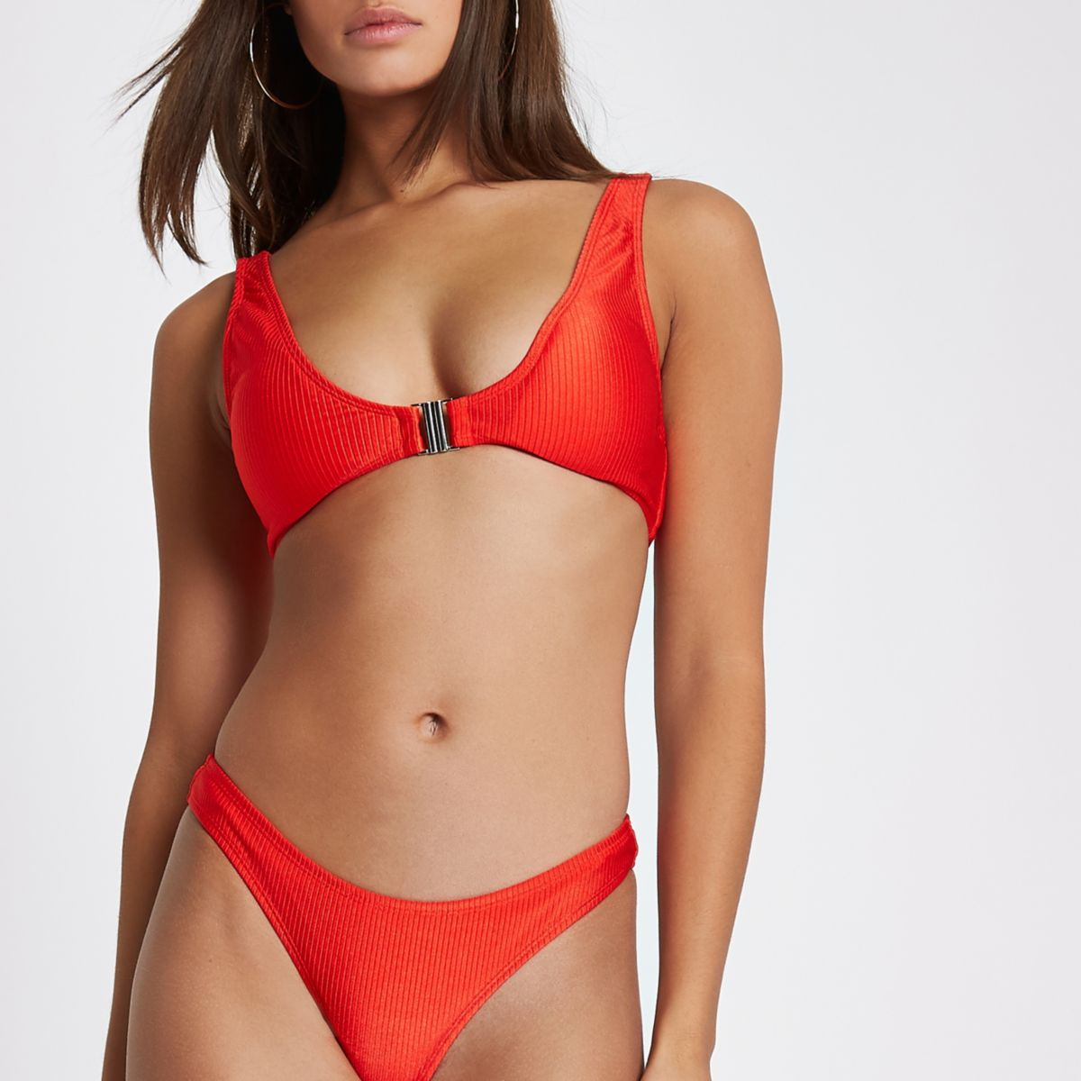 Red ribbed clip front triangle bikini top