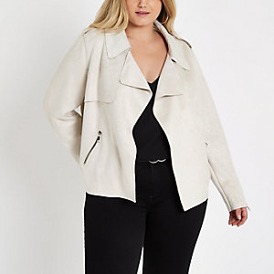 Plus stone faux suede cropped trench jacket