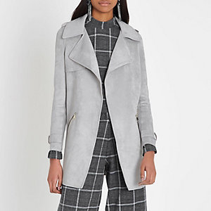 Light grey faux suede longline trench coat