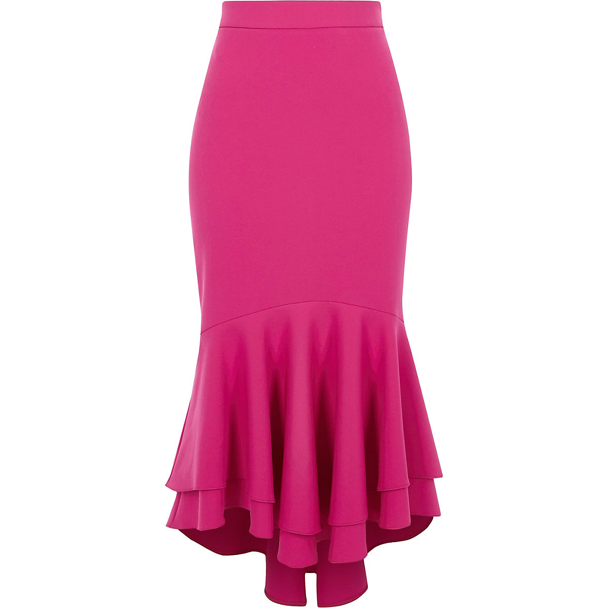Pink tiered frill fishtail pencil skirt