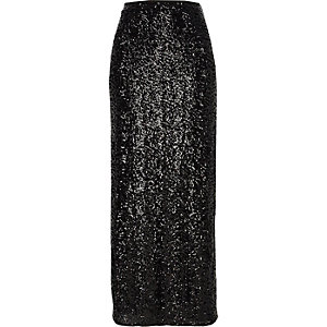 Black sequin side split maxi skirt