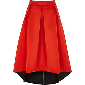Red high low sateen midi skirt