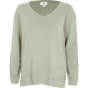 Khaki scoop neck slouch sweatshirt