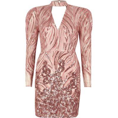 River Island Roze mini-jurk met schoudervulling, choker en lovertjes