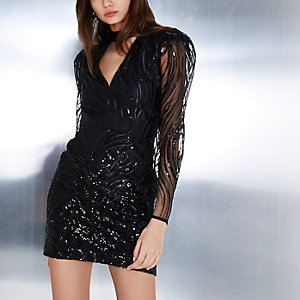 Black sequin shoulder pad bodycon mini dress