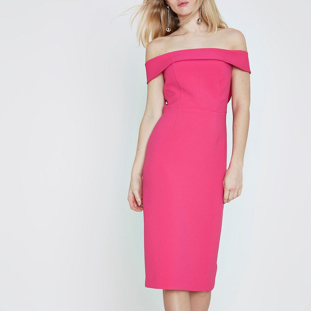 Pink bardot bodycon midi dress