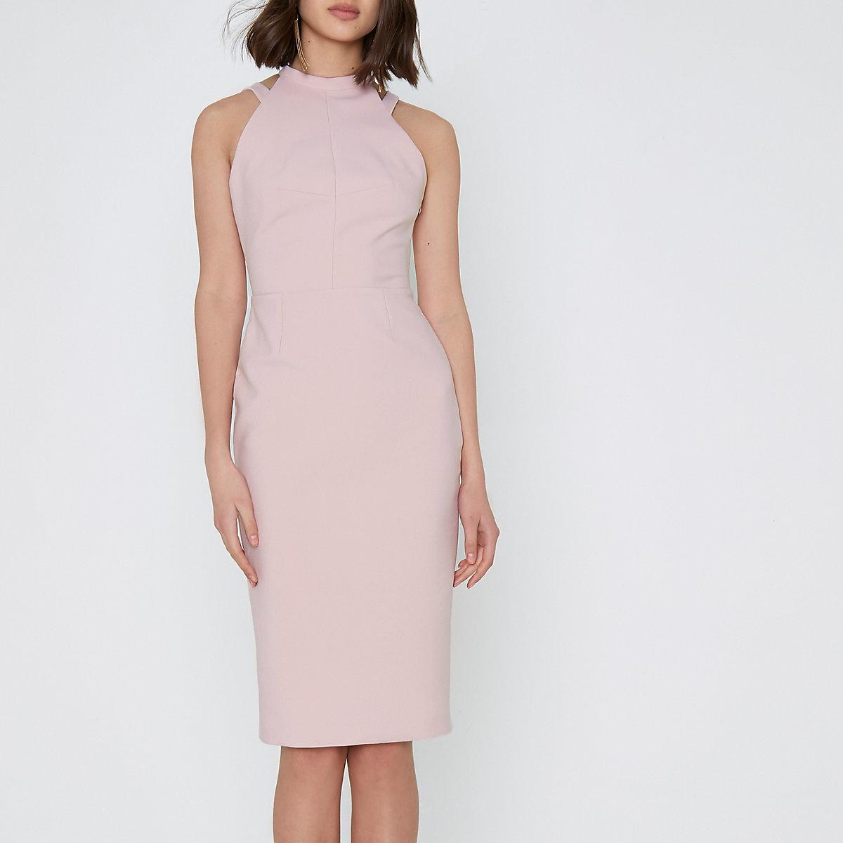 Light pink bow back sleeveless bodycon dress