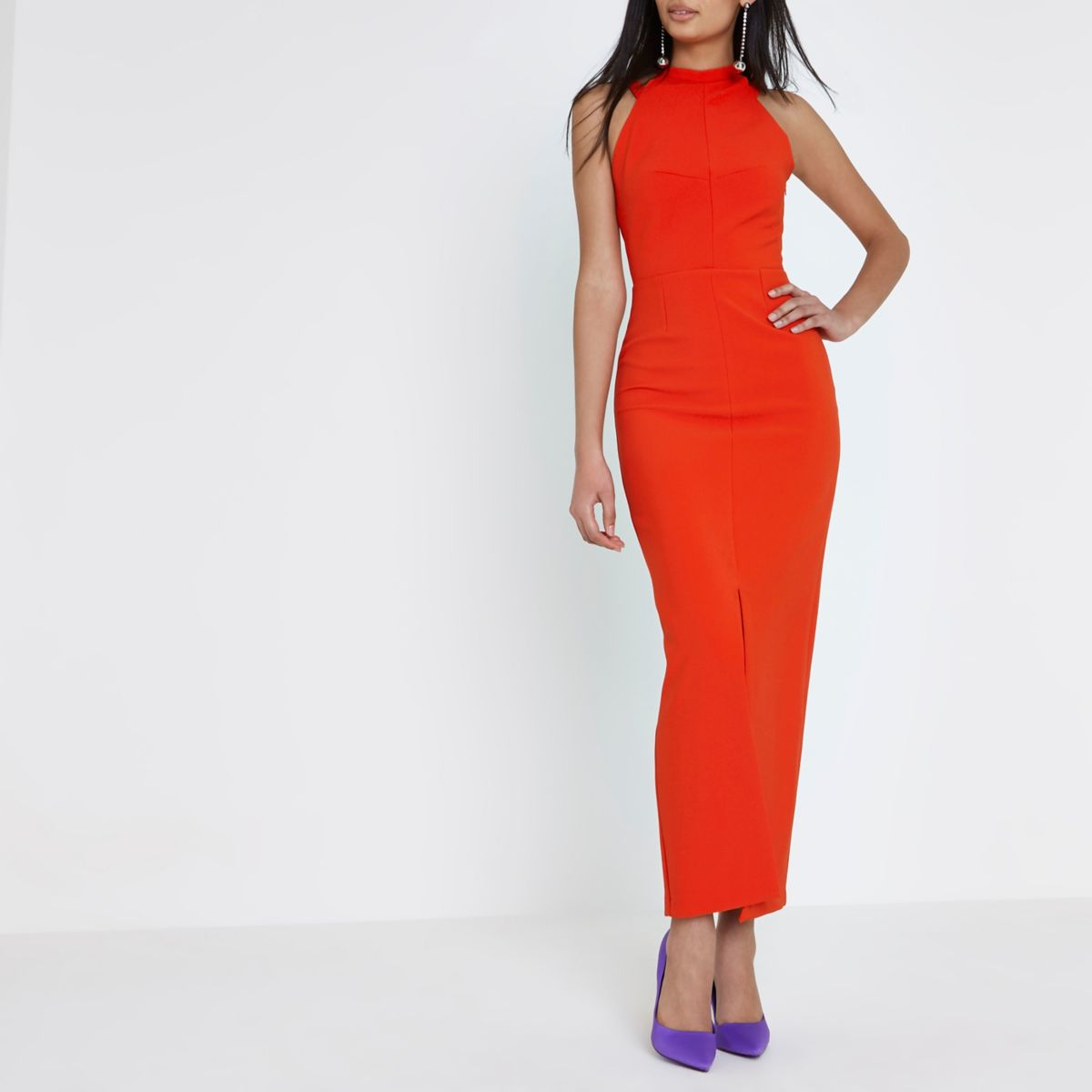 Red bow back sleeveless bodycon dress
