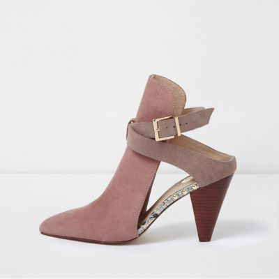 Pink Pointed Mule Strappy Shoe Boot
