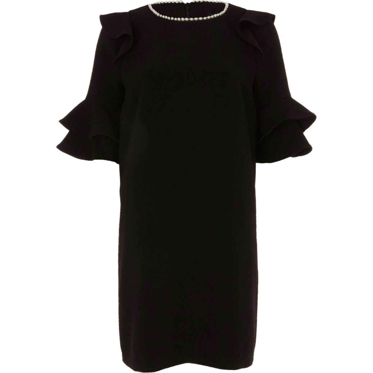 Black faux pearl necklace frill swing dress