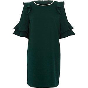 Grünes Swing-Kleid mit Kunstperlenverzierung
