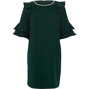 Green frill faux pearl neck swing dress