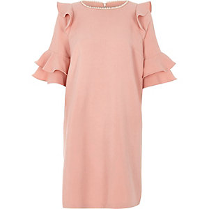 Pink frill faux pearl neck swing dress