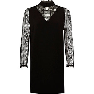 Black lace long sleeve high neck swing dress