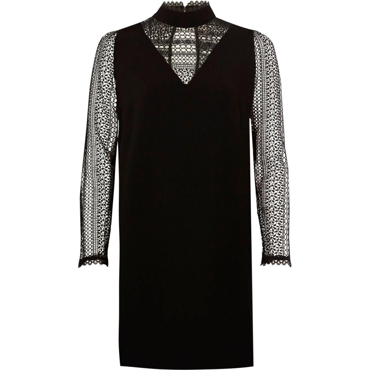 Schwarzes, langärmliges Swing-Kleid aus Spitze