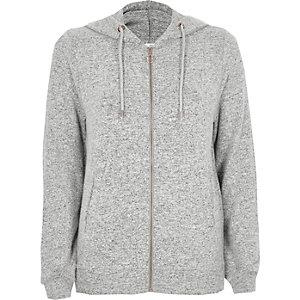 Light grey cosy lounge zip-up hoodie