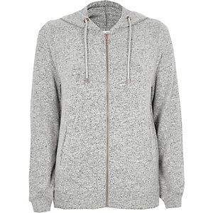 Light grey cosy lounge zip-up hoodie