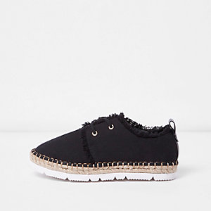 Black frayed trim lace-up espadrilles